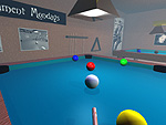 A smoke filled pool hall.